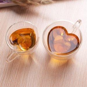 Lovers Heart Shaped Glass Mug